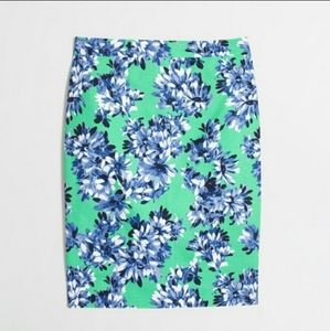 J Crew The Pencil Skirt green with blue floral
